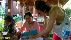 A volunteer teaching English to local students.